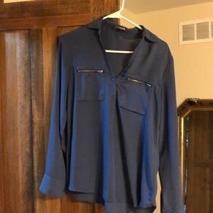 Blue blouse with gold zippers